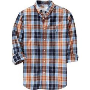Blue & Orange Plaid Button Down